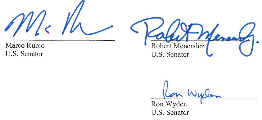 3 vị Thượng Nghị sĩ Mỹ trong bức thư gửi Tổng giám đốc Facebook Mark Zuckerberg và Tổng giám đốc Google Sundar Pichai